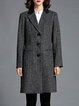 Gray Tweed Paneled Lapel Long Sleeve Coat