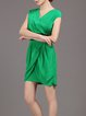 Green Elegant V Neck Polyester Folds Midi Dress