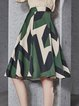 Green Casual Printed A-line Color-block Midi Skirt