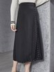 Black Solid A-line Cotton-blend Casual Midi Skirt