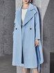 Sky Blue Buttoned Lapel Elegant Coat