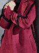 Burgundy Long Sleeve Fringed Lapel Solid H-line Coat