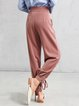 Gray Folds Bow Solid Casual Straight Leg Pants