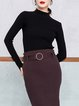 Black Turtleneck Solid Knitted Long Sleeve Sweater