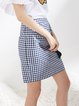 Black Ruched Gingham Casual Mini Skirt