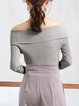 Knitted Off Shoulder Plain Elegant Long Sleeve Sweater