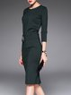 Crew Neck Elegant Sheath Embroidered 3/4 Sleeve Midi Dress