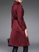 Burgundy Plain Lapel Long Sleeve Coat