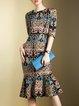 Vintage Half Sleeve Printed Crew Neck Mermaid Midi Dress