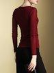 Burgundy V Neck Beaded Plain Long Sleeved Top