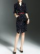 Navy Blue Elegant V Neck Printed Frill Sleeve Sheath Midi Dress