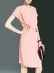 Crew Neck Solid Short Sleeve Midi Dress