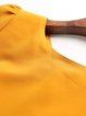 Frill Sleeve Crew Neck Solid Sheath Midi Dress