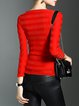 Red Crew Neck Casual Long Sleeved Top