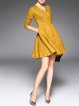 Yellow Elegant Plain A-line Midi Dress