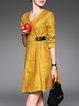 Yellow Elegant Plain A-line Midi Dress