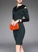 Color-block Elegant Sheath Cold Shoulder Midi Dress