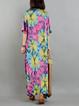 Multicolor Printed Casual V Neck Linen Dress