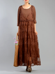 Shift Crew Neck Long Sleeve Embroidered Casual Linen Dress