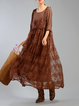 Shift Embroidered 3/4 Sleeve Crew Neck Casual Dress With Top