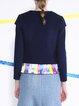 Dark Blue Elegant Color-block Wool Cropped Jacket