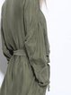 Army Green Shift Solid Casual Rayon Long Sleeve Coat