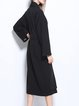 Black Solid Casual Drawcord H-line Shift Coat