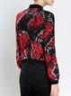 Red Printed Long Sleeve Silk Bomber Jacket