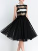Black Elegant Swing Stripes Sleeveless Midi Dress