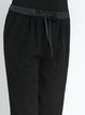 Black Wool Blend Casual Straight Leg Pants
