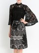 Black Pierced Two Piece Elegant Floral Lace Midi Dress