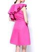 Fuchsia Ruffled A-line Polyester Sleeveless Party Dress