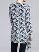 White Abstract Printed Casual Knitted Cardigan