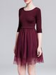 Fuchsia Paneled A-line 3/4 Sleeve Midi Dress