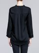 Black Ruched H-line V Neck Simple Blouse