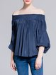 Royal Blue Batwing Casual Plain Off Shoulder Shirred Blouse
