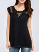 Black Pierced Casual Rayon T-Shirt