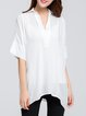 White Half Sleeve Simple Shirt Collar Blouse