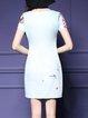 Sheath Vintage Printed Crew Neck Short Sleeve Mini Dress