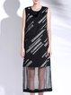 Black Paneled Sleeveless Stripes Midi Dress