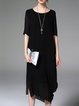 Black Short Sleeve Plain Crew Neck Shift Midi Dress