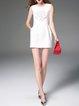 White Sleeveless Beaded Elegant Mini Dress