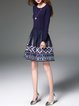 Navy Blue Floral-embroidered A-line Vintage Midi Sweater Dress