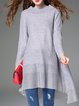 Gray Asymmetric Knitted Casual Stand Collar Tunic