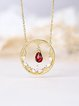 Golden 925 Sterling Silver Round Necklace