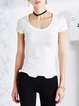White Wavy Sheath Casual Short Sleeved Top