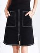 Black Slit Denim Casual A Line Mini Skirt