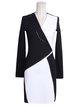 Black-white Elegant V Neck Geometric Mini Dress