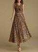 Brown Swing V Neck Elegant Leopard Print Maxi Dress