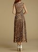 Brown Swing V Neck Elegant Leopard Print Maxi Dress